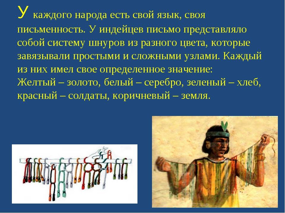 У каждого народа есть свой язык, своя письменность. У индейцев письмо предста...