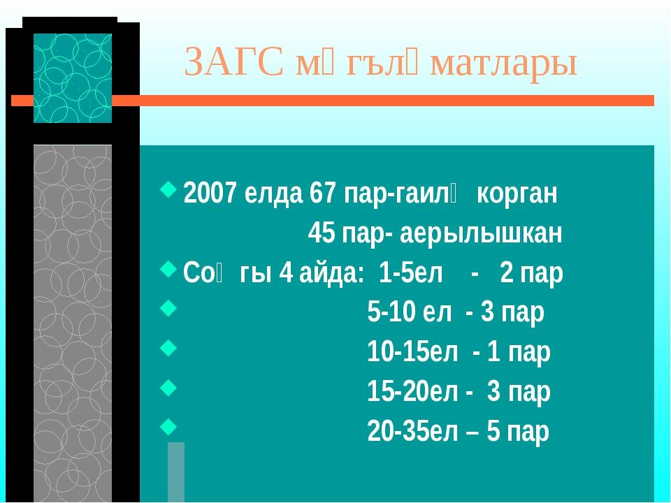 ЗАГС мәгълүматлары 2007 елда 67 пар-гаилә корган 45 пар- аерылышкан Соңгы 4...