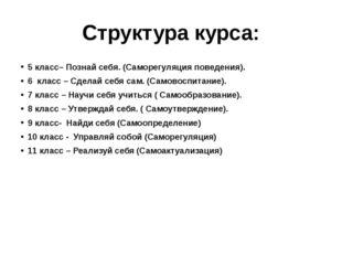 Структура курса: 5 класс– Познай себя. (Саморегуляция поведения). 6 класс – С