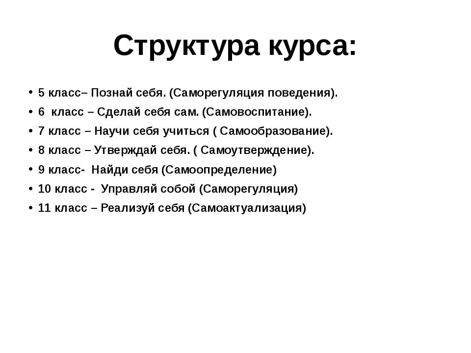 Структура курса: 5 класс– Познай себя. (Саморегуляция поведения). 6 класс – С...