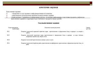 КРИТЕРИИ ОЦЕНКИ Выполнение задания: - обращение в ходе задания к информационн
