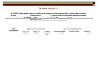 Сводная ведомость по ПМ 07. «Выполнение работ по одной или нескольким професс
