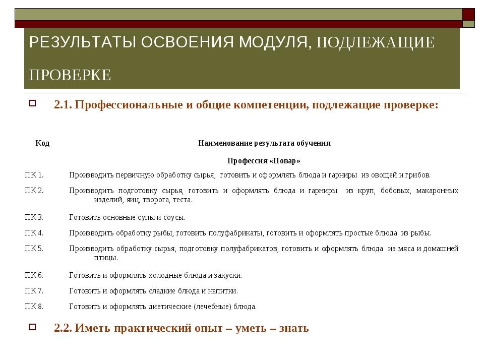 РЕЗУЛЬТАТЫ ОСВОЕНИЯ МОДУЛЯ, ПОДЛЕЖАЩИЕ ПРОВЕРКЕ 2.1. Профессиональные и общие...