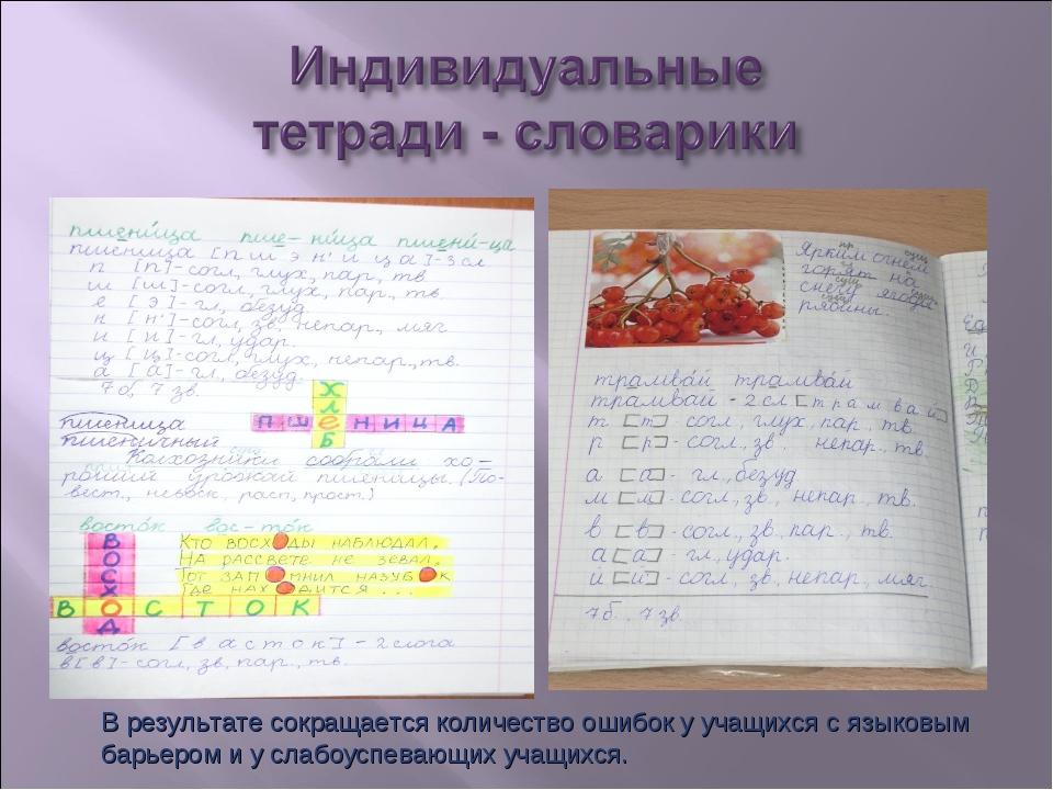 В результате сокращается количество ошибок у учащихся с языковым барьером и у...