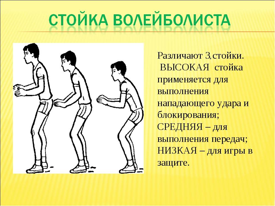 . Различают 3 стойки. ВЫСОКАЯ стойка применяется для выполнения нападающего у...