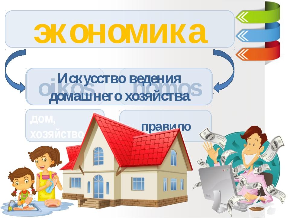 экономика oikos nomos дом, хозяйство правило Искусство ведения домашнего хозя...