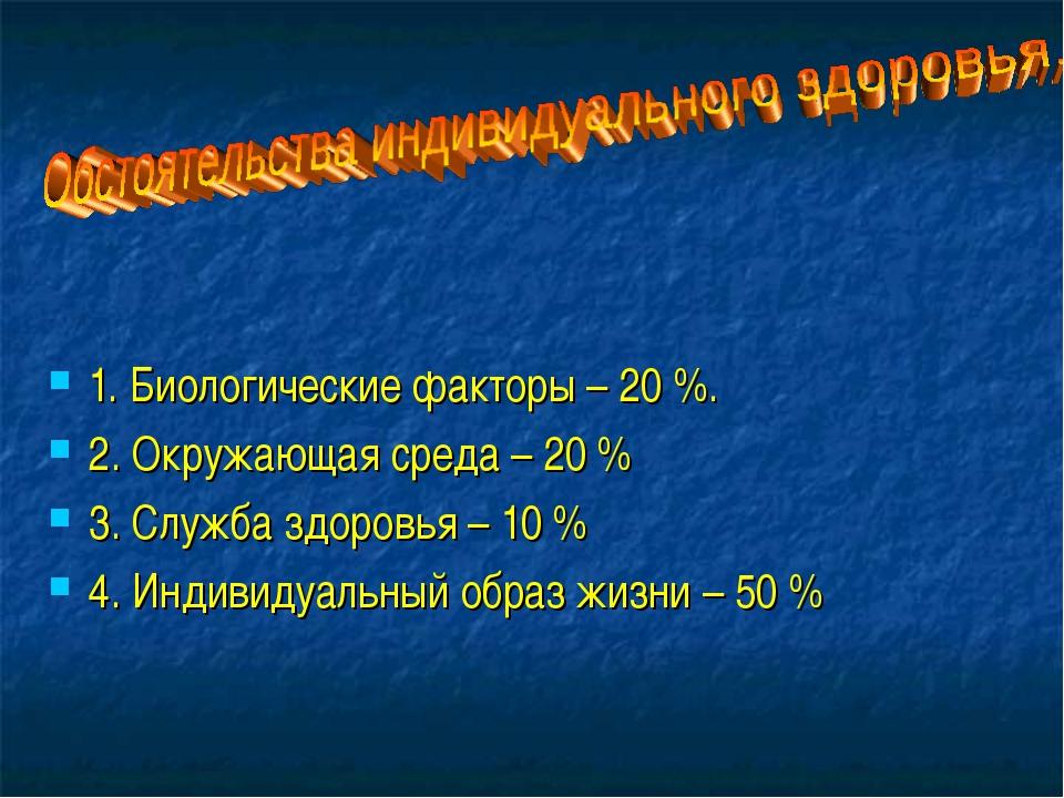 1. Биологические факторы – 20 %. 2. Окружающая среда – 20 % 3. Служба здоровь...