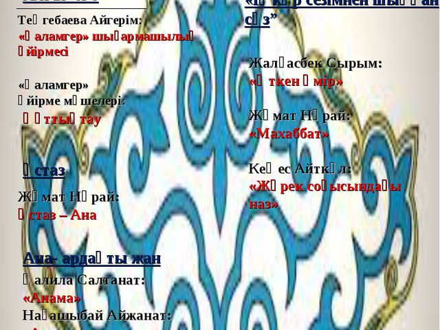 МАЗМҰНЫ: Алғы сөз Теңгебаева Айгерім: «Қаламгер» шығармашылық үйірмесі «Қалам...