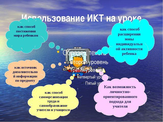 Использование ИКТ на уроке как способ расширения зоны индивидуальной активнос...
