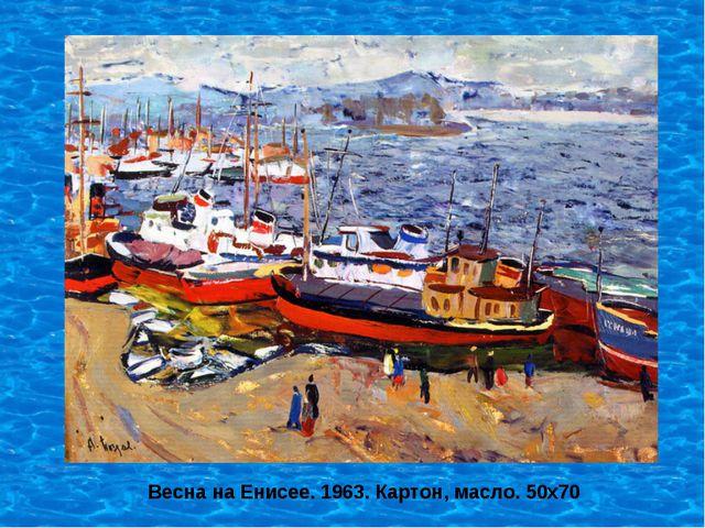 Весна на Енисее. 1963. Картон, масло. 50х70