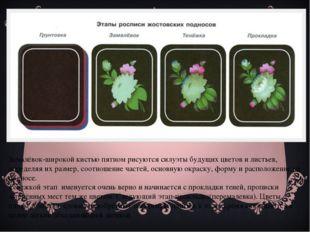 Замалёвок-широкой кистью пятном рисуются силуэты будущих цветов и листьев, оп