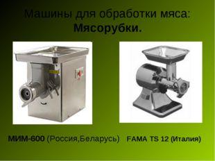 Машины для обработки мяса: Мясорубки. МИМ-600 (Россия,Беларусь) FAMA TS 12 (И