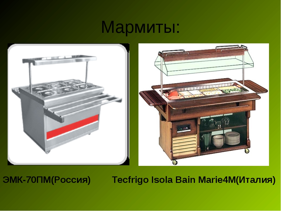Мармиты: ЭМК-70ПМ(Россия) Tecfrigo Isola Bain Marie4М(Италия)
