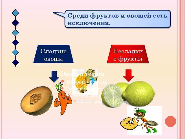 Сладкие овощи Среди фруктов и овощей есть исключения. Несладкие фрукты