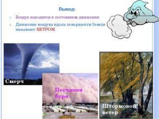 Вывод: Воздух находится в постоянном движении Движение воздуха вдоль поверхно