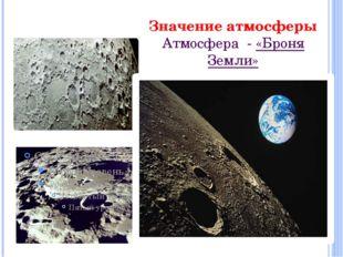 Значение атмосферы Атмосфера - «Броня Земли»
