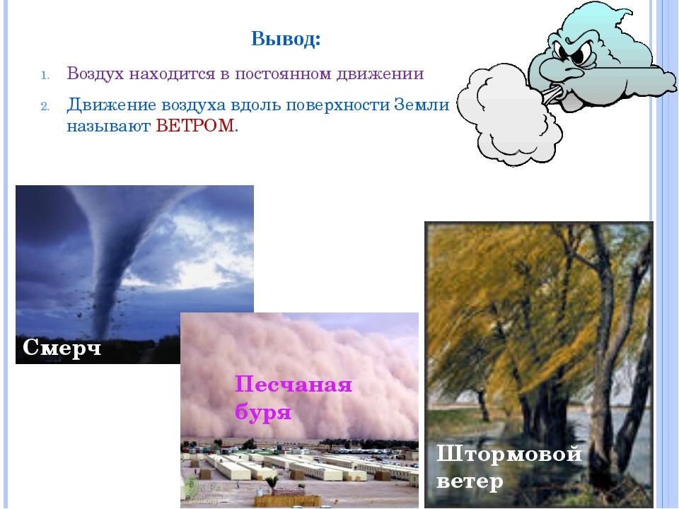 Вывод: Воздух находится в постоянном движении Движение воздуха вдоль поверхно...