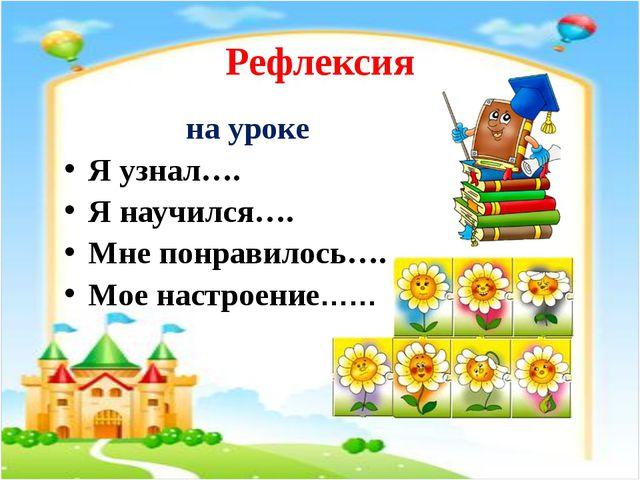Рефлексия на уроке Я узнал…. Я научился…. Мне понравилось…. Мое настроение……