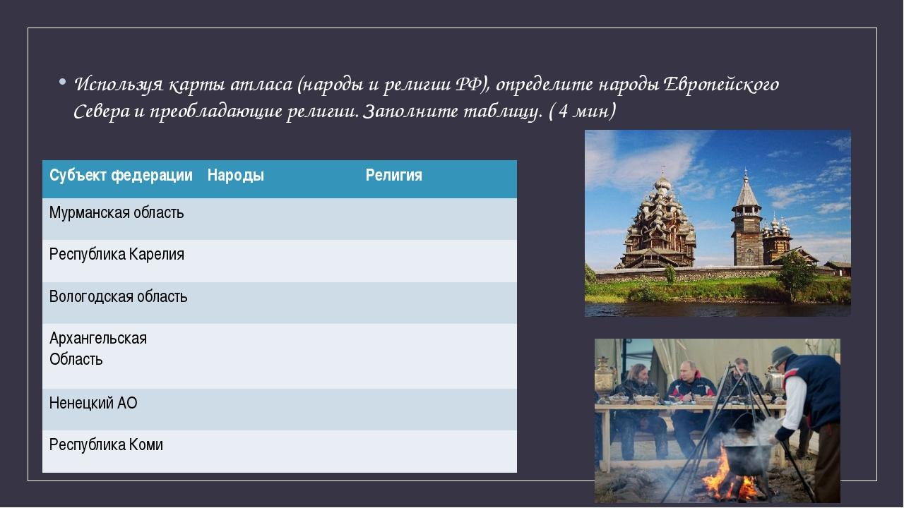 Используя карты атласа (народы и религии РФ), определите народы Европейского...