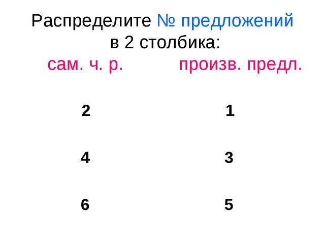 Распределите № предложений в 2 столбика: сам. ч. р. произв. предл. 2 1 4 3 6 5