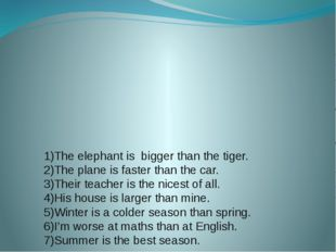 1)The elephant is bigger than the tiger. 2)The plane is faster than the car.