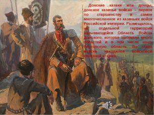 Донские казаки или донцы, донское казачье войско – первое по старшинству и с