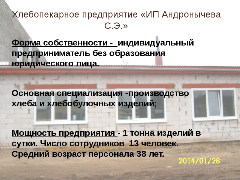 Хлебопекарное предприятие «ИП Андронычева С.Э.» Форма собственности - индивид...