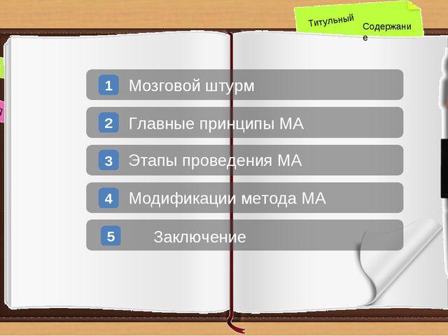 назад вперед Титульный Содержание 1 Мозговой штурм 2 Главные принципы МА 3 Эт...