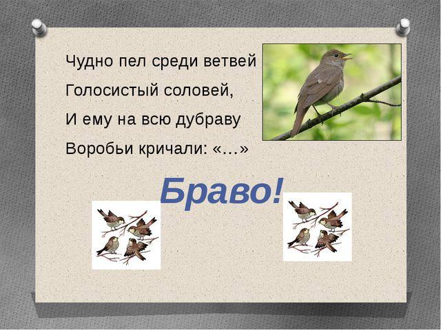 Чудно пел среди ветвей Голосистый соловей, И ему на всю дубраву Воробьи крича...
