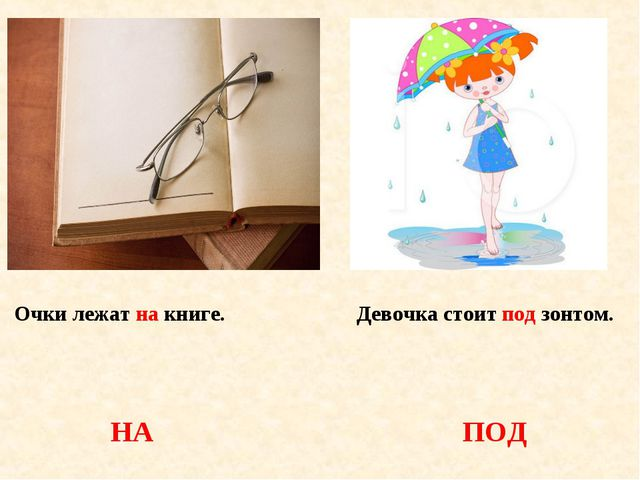 Очки лежат на книге. Девочка стоит под зонтом. НА ПОД