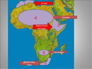 1 Атлас 2 3 Драконовы горы 4 Сахара 5 Калахари Эфиопское нагорье
