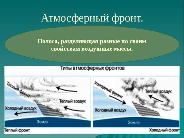 Атмосферный фронт. Полоса, разделяющая разные по своим свойствам воздушные ма...