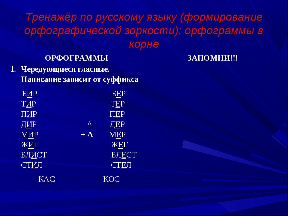 Тренажёр по русскому языку (формирование орфографической зоркости): орфограм...