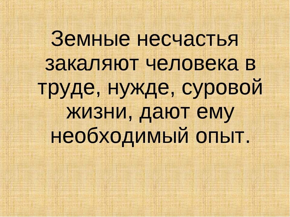 Земные несчастья закаляют человека в труде, нужде, суровой жизни, дают ему не...