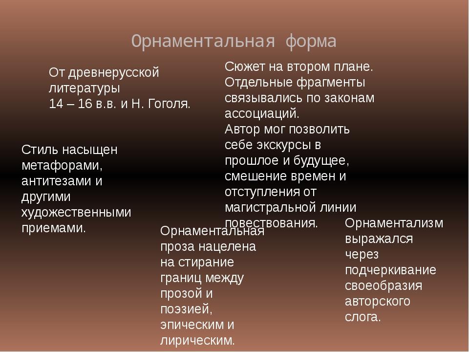Орнаментальная форма От древнерусской литературы 14 – 16 в.в. и Н. Гоголя. Сю...
