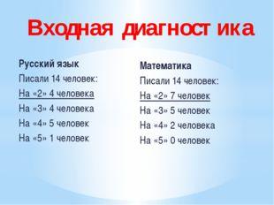 Русский язык Писали 14 человек: На «2» 4 человека На «3» 4 человека На «4» 5