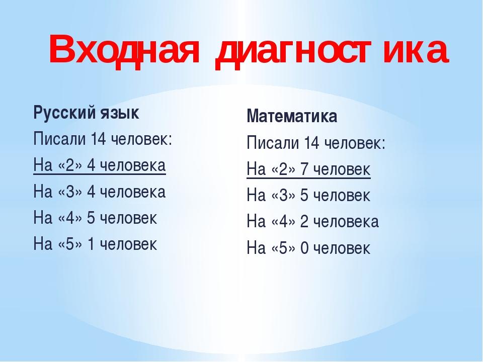 Русский язык Писали 14 человек: На «2» 4 человека На «3» 4 человека На «4» 5...