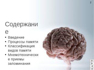 Содержание Введение Процессы памяти Классификация видов памяти Мнемотехничес