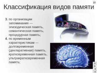 Классификация видов памяти по организации запоминания — эпизодическая память,