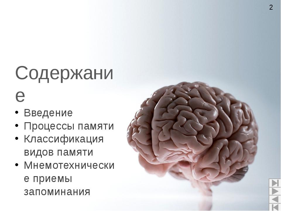 Содержание Введение Процессы памяти Классификация видов памяти Мнемотехничес...