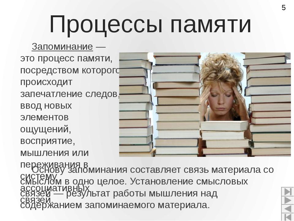 Процессы памяти Запоминание — это процесс памяти, посредством которого происх...