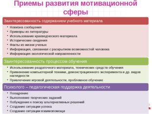 Приемы развития мотивационной сферы