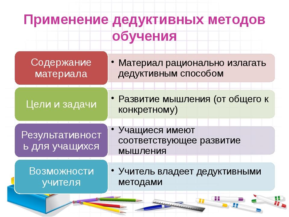Применение дедуктивных методов обучения