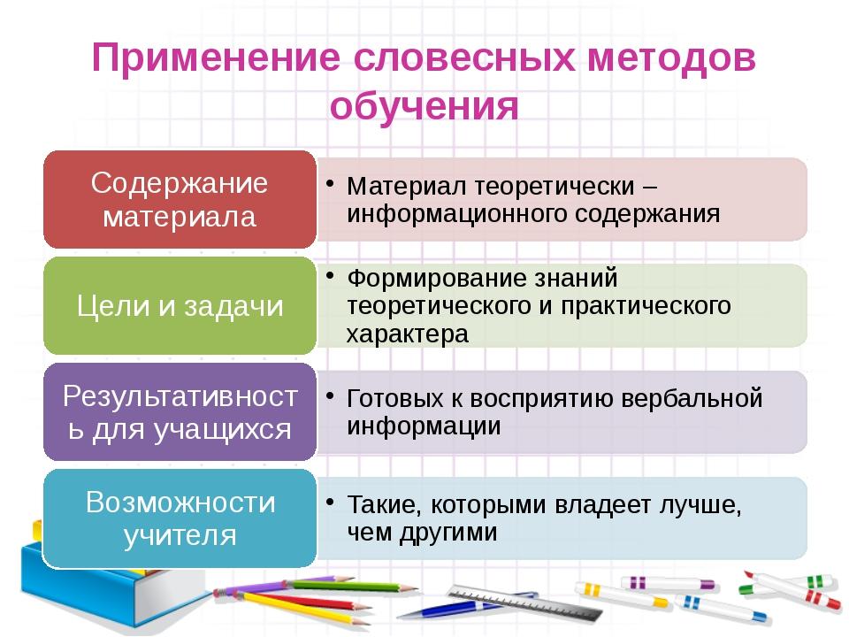 Применение словесных методов обучения