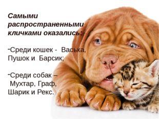 Самыми распространенными кличками оказались: Среди кошек - Васька, Пушок и Ба