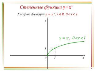 Степенные функции y = x r График функции y = x r, r R, 0 < r < 1 y x 0 y = x