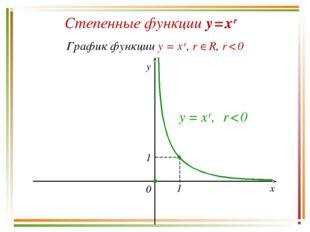 Степенные функции y = x r График функции y = x r, r R, r < 0 y x 0 y = x r,