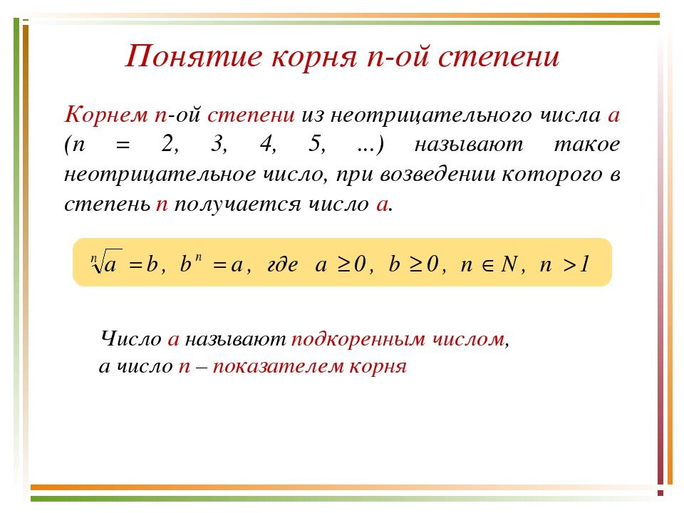 Понятие корня n-ой степени Корнем n-ой степени из неотрицательного числа а (n...