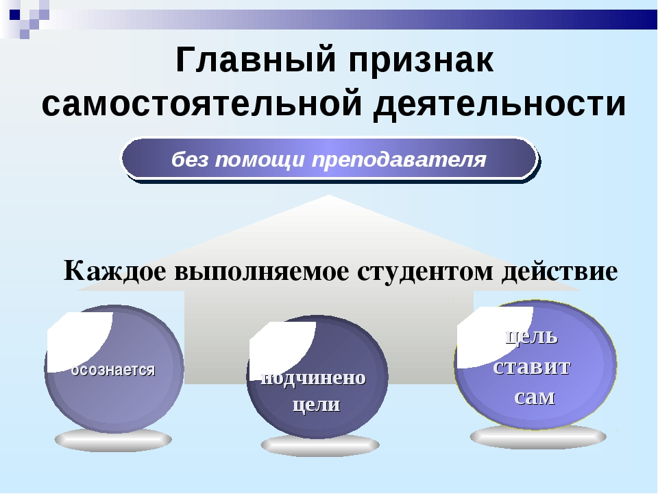 Главный признак самостоятельной деятельности без помощи преподавателя Каждое...