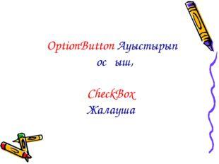 OptionButton Ауыстырып қосқыш, CheckBox Жалауша